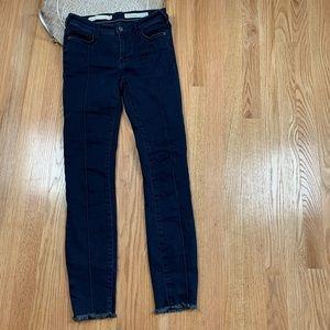Anthropologie Mid Rise Skinny Chewed Hem Jeans